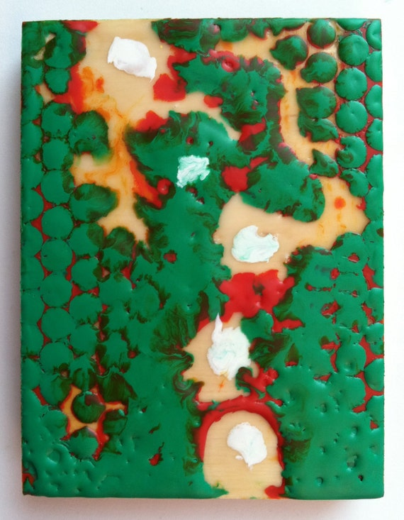 """Green Circles, Orange and White Dots, Original Encaustic Painting on wood, small, 3""""x4"""""""