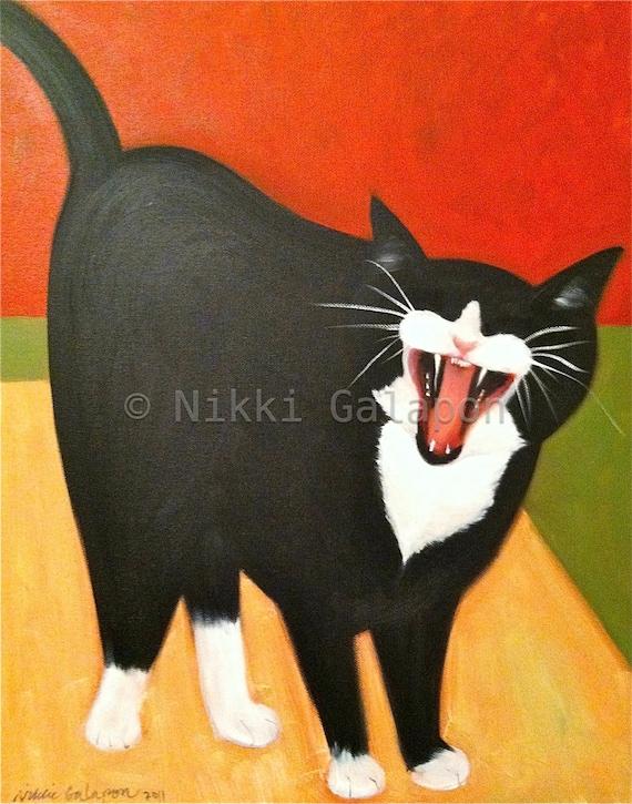 Berlioz the Black and White Tuxedo Cat, 11x14 PRINT of original oil painting