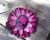 Pink and black skeleton lady flower hair clip  Ready to ship
