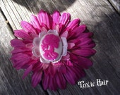 Pink flower with hot pink  and white skeleton lady flower hair clip  Ready to ship