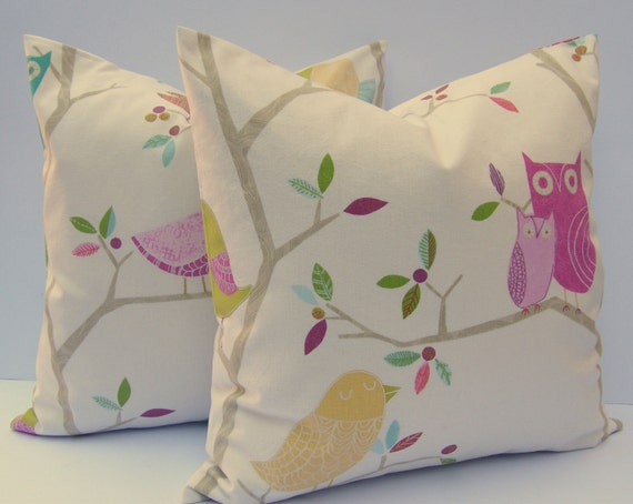 What a Hoot Owl and Birds pillow cushion Cover, pretty fabric slip cover, throw pillow
