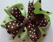 Hair Bow -Brown and Green -  Polka Dot - Grosgrain Ribbon