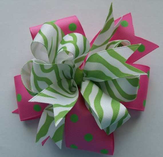 Hair Bow Pink with Green Polka Dot  and Green Zebra Grosgrain Ribbon