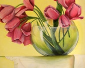 Original Oil painting Tulips in Glass Bowl