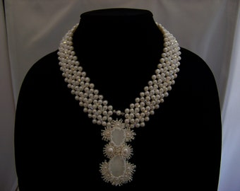 Pearl Cat's Eye Wedding Necklace