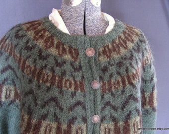 Handknit, Womens, Green, Lopi Wool Cardigan Sweater, size: Medium.