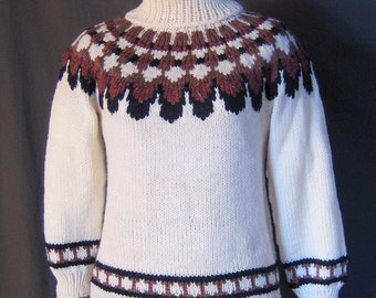 Handknit, Womens White, Multicolor Design Sweater, Acrylic Wool, Size: Small