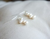 Freshwater nugget pearls earrings, sterling silver, AAA grade nugget pearls