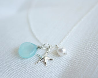 Sterling silver starfish pearl chalcedony necklace