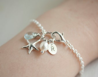 Sterling silver starfish gemstone pearl initial charm bracelet