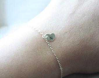 Sterling silver initial heart charm bracelet