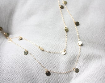 Gold tiny disc charm long necklace