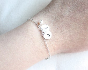 Initial bracelet, 2 disc charms, small pearl or birthstone color, best friends, girl friends
