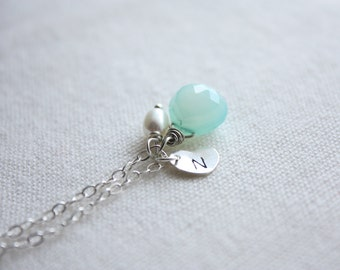 Initial heart charm gemstone and pearl necklace