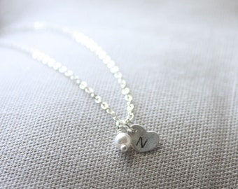 Initial heart charm and pearl necklace