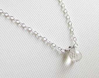 Golden rutile quartz teardrop silver necklace