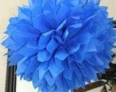 Sapphire Single Tissue Pom SALE - Cookie Monster Blue - Sesame Street Theme - Emerald Blue Decoration
