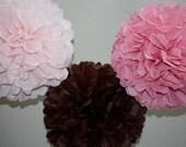 Tissue Pom Poms - 3 Large Pom Set- your color choice -Sale - Birthday Party - Tea Party - Cherry Blossom Theme