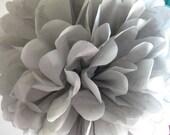 Tissue Paper Pom Pom - Grey
