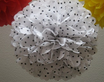 Black and White Polka Dot Tissue Paper Pom Pom