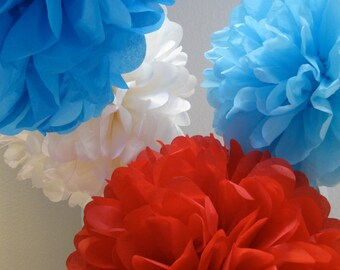 10 Tissue Paper Pom Poms- Circus Carnival or Big Top Birthday Party Set