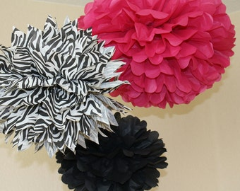 Tissue Paper Pom Poms - Set of 10 Poms- Your Color Choice- SALE - Pink Zebra and Black  - First Birthday Party - Bachelorette Party