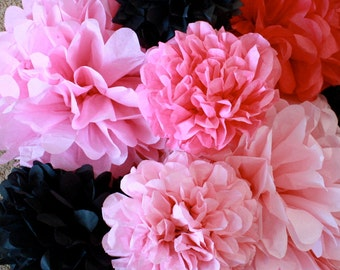 Paper Pom Poms - 30 Poms - Your Color Choice- SALE - Pink and Black Decorations