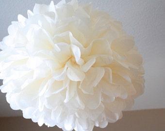 Large Tissue Paper Pom Pom - Ivory Tissue Pom