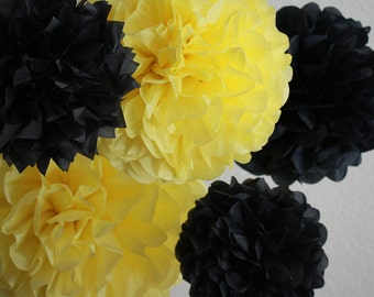 Tissue Paper Pom Poms - Set of 10 Poms- Bumble Bee Party - Honey Bee - Winnie the Pooh party