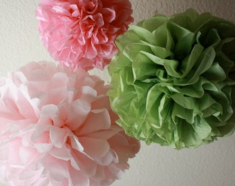 10 Tissue Pom Poms - Shabby Chic Nursery Decorations - Your Color Choice- SALE - Sage and Pink Decorations