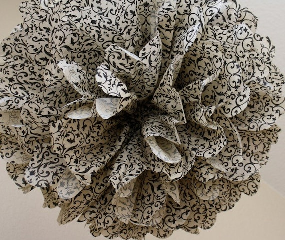Tissue Paper Pom Pom -Gorgeous Antique Floral Brocade -SALE - Rustic Damask Wedding Decoration