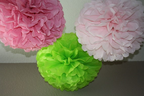 30 Tissue Pom Poms - Your Color Choice- SALE