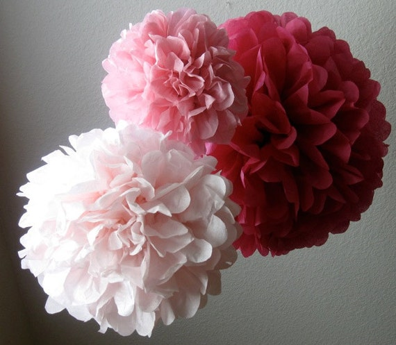 Tissue Pom Poms - Set of 6 Poms - Birthday - Nursery - Shower - Wedding - Ceremony Decorations