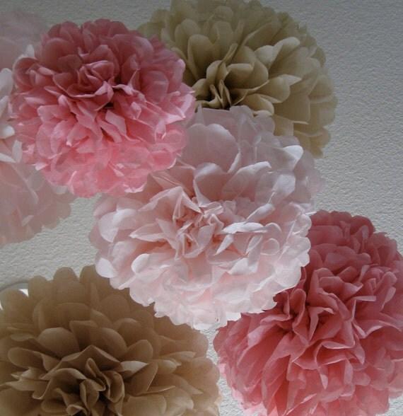 20 Tissue Paper Pom Poms - Your Color Choice - Sale - Vinatge Wedding Decoration - Shabby Chic Decor