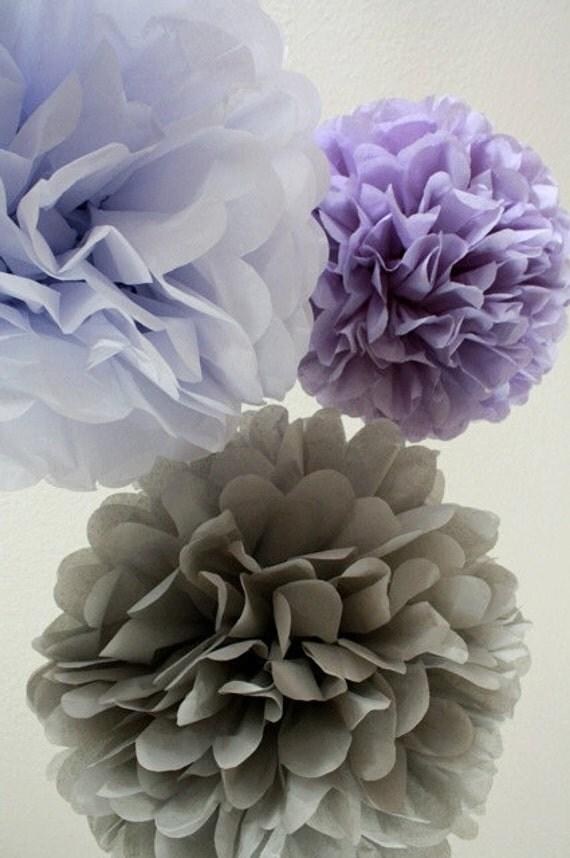 Tissue Pom Poms - Set of 10 - Your Color Choice- SALE - Purple Party Decorations