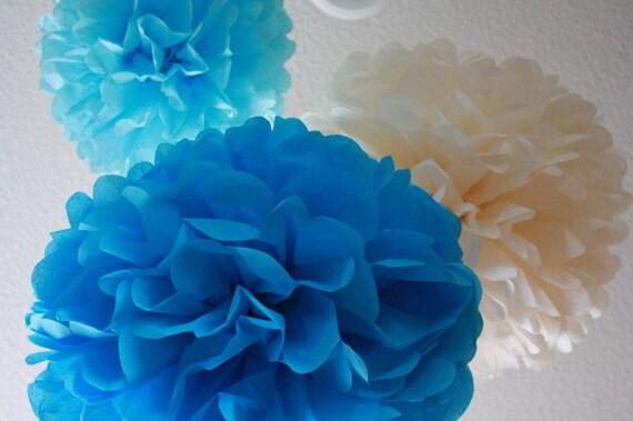 20 Tissue Pom Poms - Your Color Choice - Sale - Blue Party Decoartions