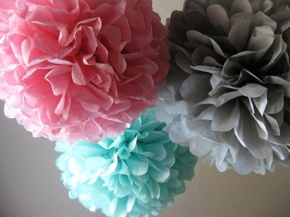 20 Tissue Pom Poms - Your Color Choice - Sale