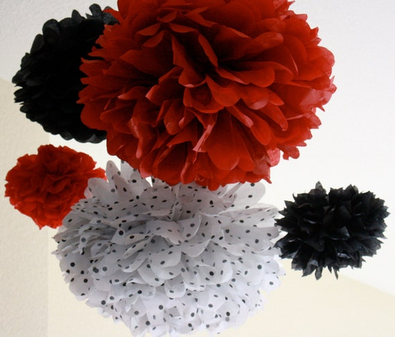 Tissue Paper Pom Poms -Set of 10- Lady Bug Parade or  Mickey and Minnie Mouse Party - Polka Dot Decorations