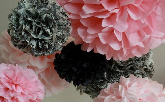 Tissue Paper Pom Poms -Set of 7- Pink and Damask Poms for Wedding - Shower - Birthday - Nursery decorations