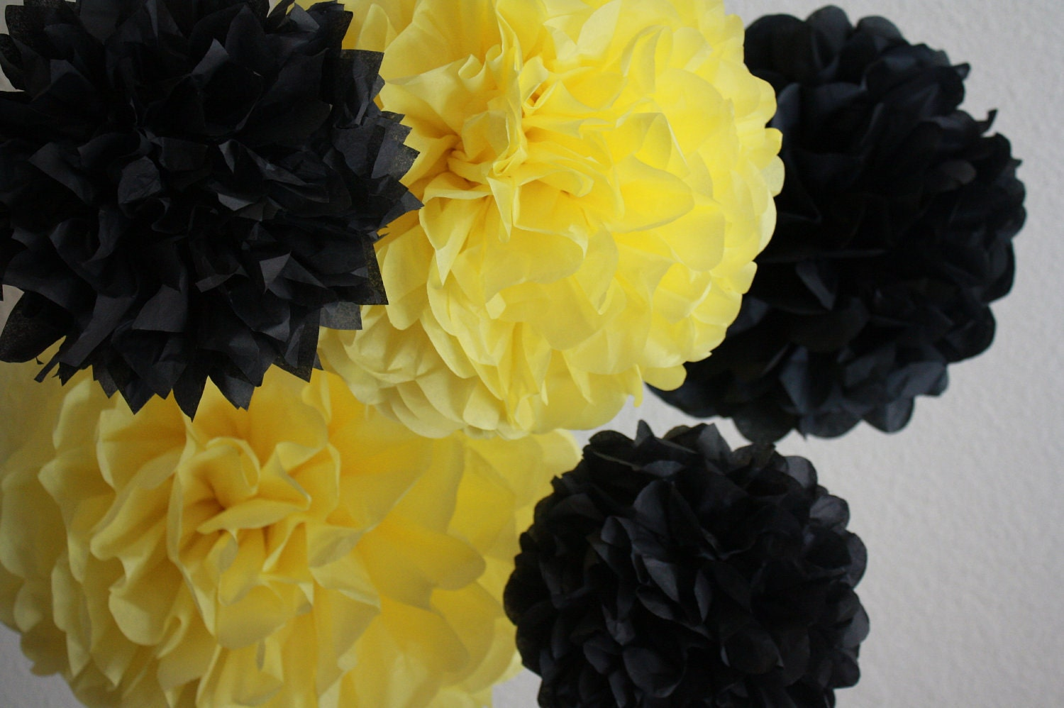 Tissue Paper Pom Poms Set Of 10 Bumble Bee Party