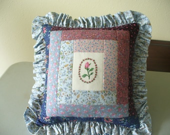 Quilted Blue Log Cabin Rose Pillow