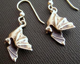 Silver Flying Bat Drop or Dangle Earrings, Handmade, Eco Friendly Halloween Jewelry Bat Jewelry