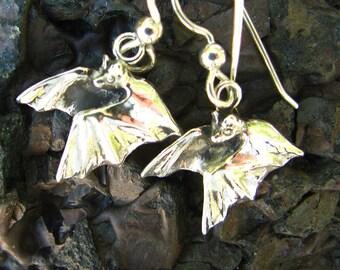 Sterling Silver Bat Earrings Eco Friendly Halloween Jewelry Bat Jewelry
