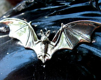 Flying Bat Necklace or Pendant in Sterling Silver Halloween Jewelry Bat Jewelry