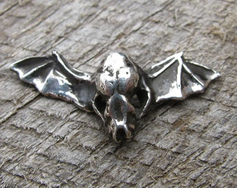 Winged Bat Skull Necklace or Pendant in Sterling Silver Halloween Jewelry Bat Skull Jewelry