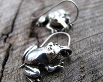 Super Sweet Spring Peepers Frog Earrings in Sterling Silver, Eco Friendly