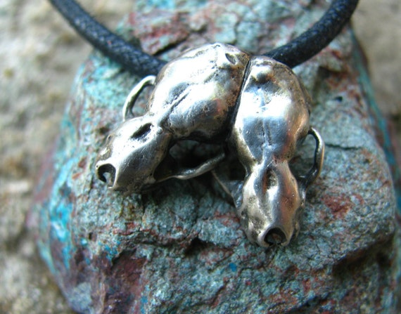 Double Bat Skull Necklace or Pendant in Sterling Silver