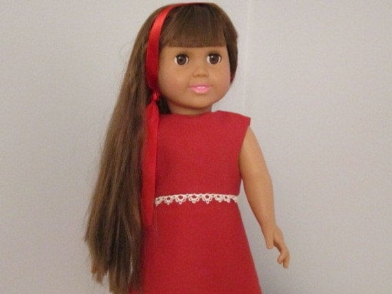 18 Inch Doll Red Dress and Headband with Shoes Option - American Girl Doll Clothes - JACKIE