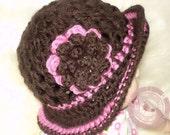 Crochet Baby Hat, Baby Hat, Baby Girl, Newborn Beanie, Flower Hat, Photo Prop, Pink, Brown, Sweetness In Smyrna, READY TO SHIP