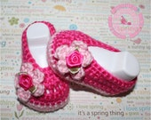 Baby Girl, Baby Girl Booties, Baby Booties, Crochet Girl Slippers, Summer, Hot Pink, Pink, Flower Shoes, READY TO SHIP